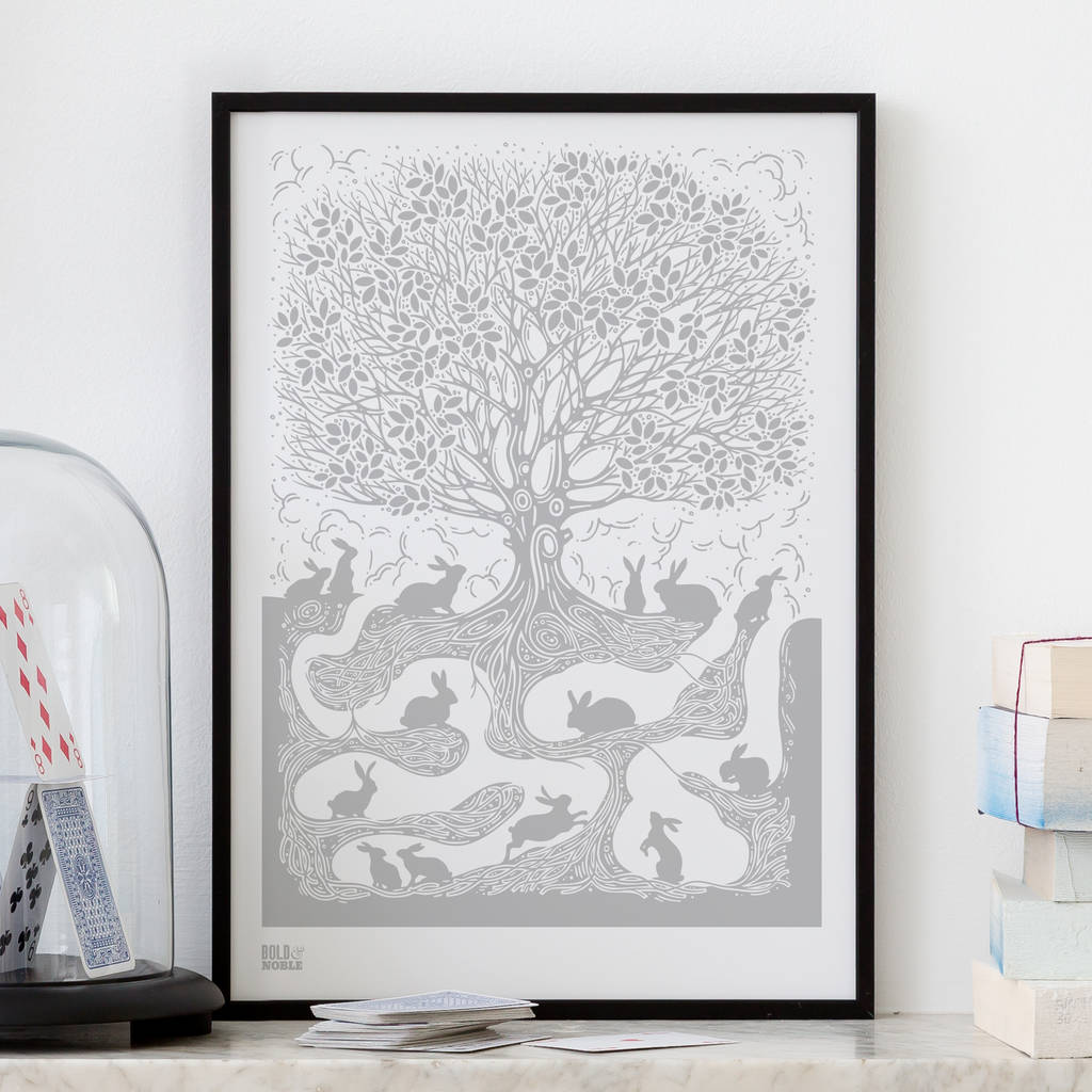 Burrow rabbit screen print by bold noble notonthehighstreet burrow rabbit screen print gumiabroncs Images