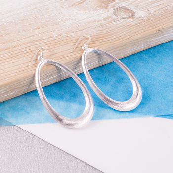 Silver Hula Drop Earrings