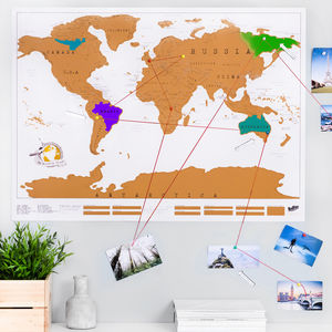 Scratch Off® 'Push Pin' World Map Bundle - maps & locations