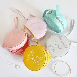 Personalised Mini Round Travel Jewellery Case - teenagers