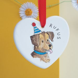 Dog's Birthday Gift, Personalised Portrait Decoration