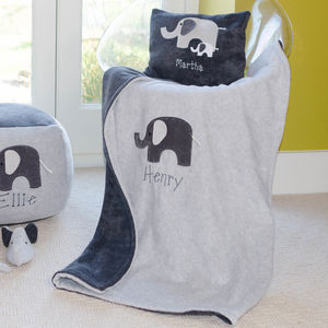Elephant Personalised Baby Blanket - children's room