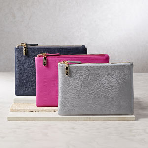 Personalised Leather Clutch Bag Or Cosmetic Purse - 3rd anniversary: leather