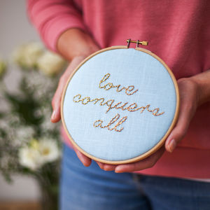 Love Conquers All Wedding Embroidery Hoop Sign - view all new