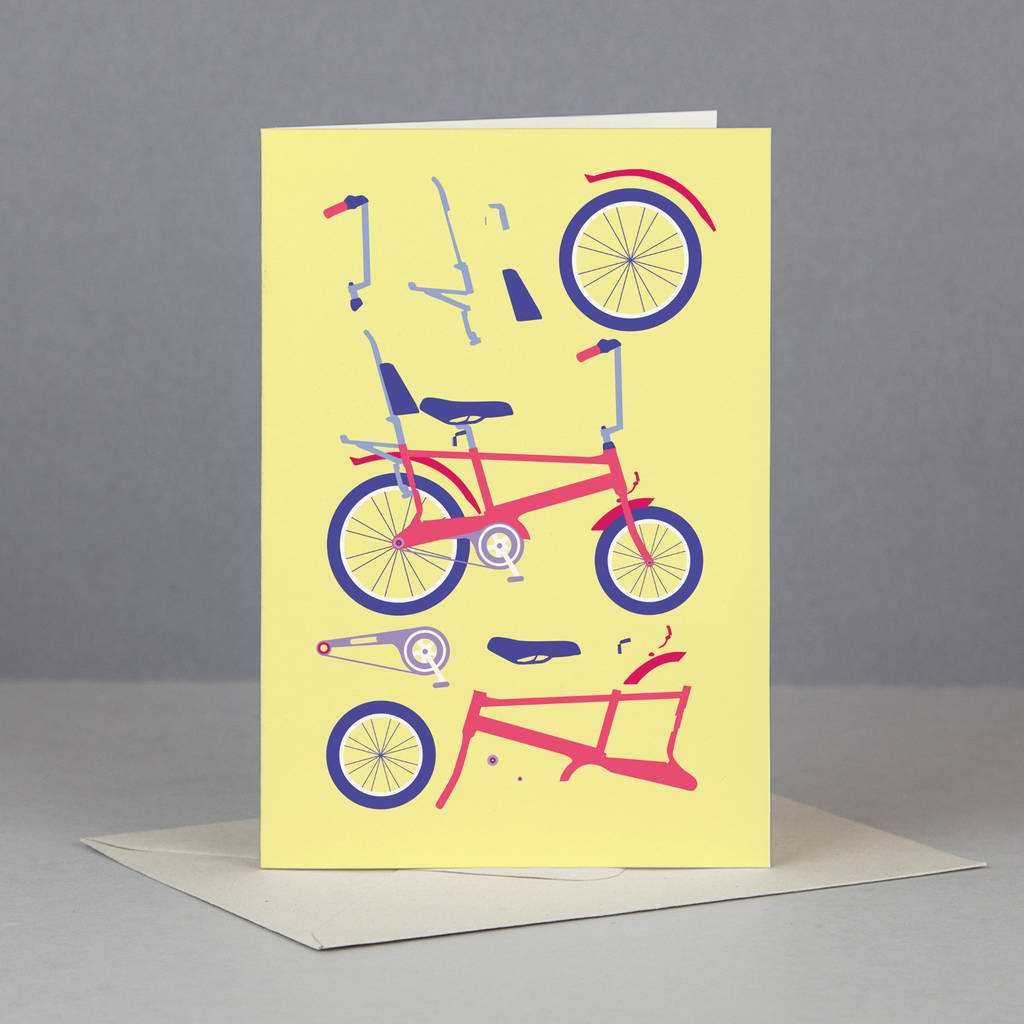 Yellow And Red Chopper Bicycle Card