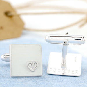 Personalised Silver Heart Wedding Anniversary Cufflinks - jewellery & watches