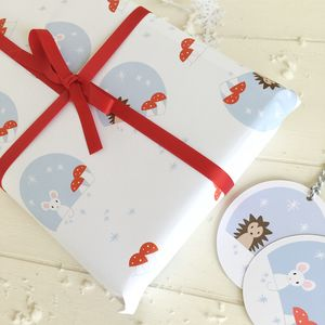 Christmas Woodland Wrapping Paper And Tags