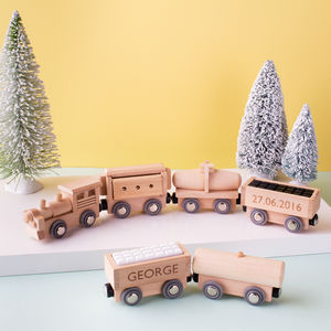 Personalised Wooden Train Set - cars & trains