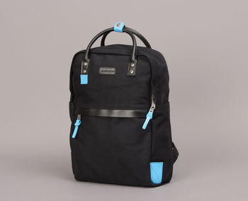 Leather And Canvas Backpack With A Flash Of Colour