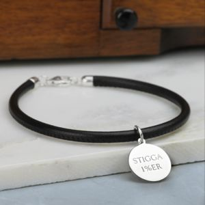 Men's Leather And Silver Bracelet - bracelets