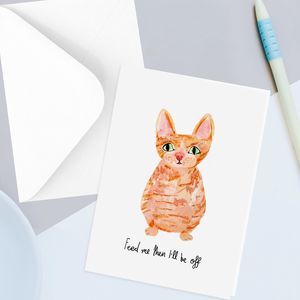 Funny Ginger Cat Greetings Card