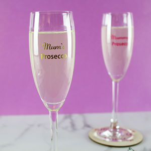 Coloured Personalised Prosecco Glass - new in home