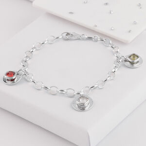 Ashes Or Hair Memorial Birthstone Triple Disc Bracelet