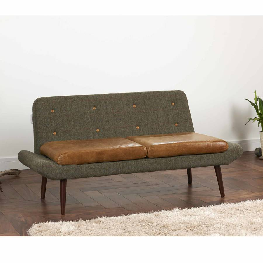 Vintage leather and tweed sofa one or two seater by the for Leather and tweed sofa