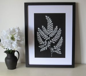 Framed Silver Fern Painting - paintings