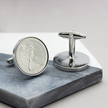 Personalised 1980 40th Birthday Five Pence Cufflinks