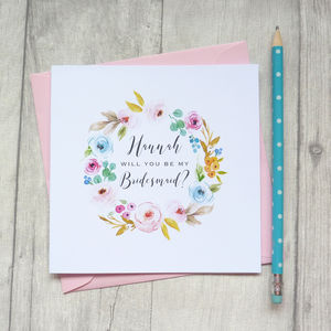 Floral Be My Bridesmaid Card