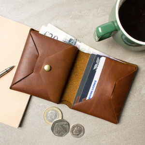 Personalised Origami Leather Wallet With Coin Purse - gifts for him