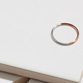 9ct Rose Gold And Silver Skinny Round Stacking Ring