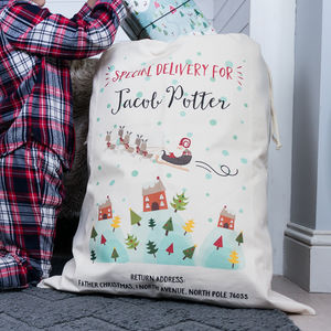 Children's Personalised Santa Sack - stockings & sacks