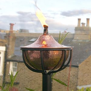 Globe Garden Oil Torch Steel Finish - lighting