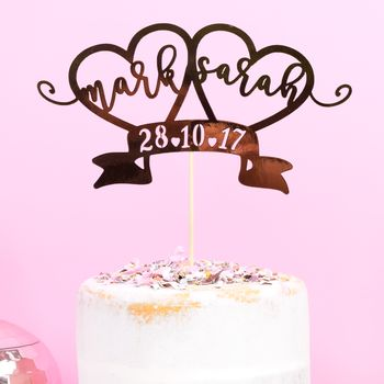 Personalised Rose Gold Wedding Cake Topper
