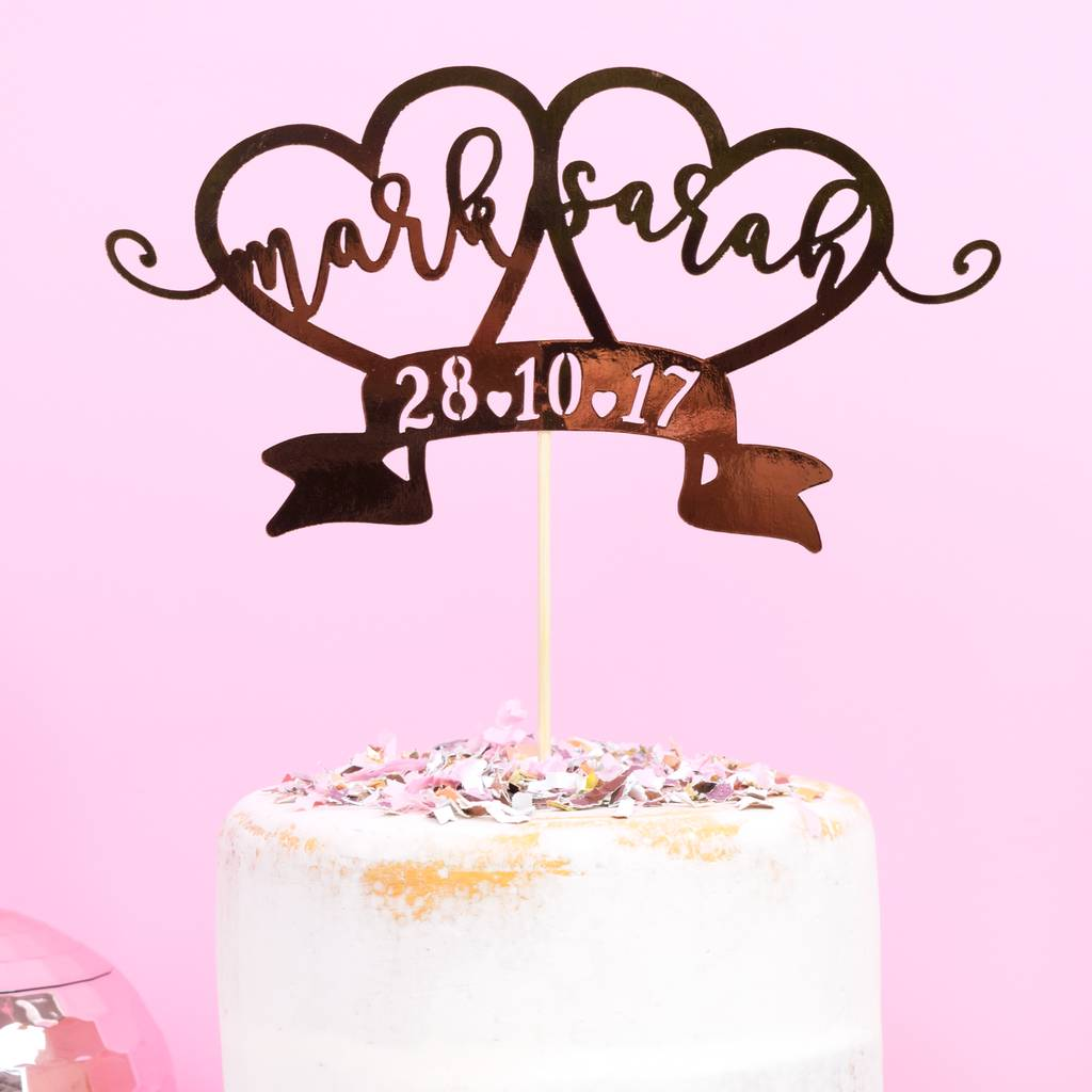 Gold Wedding Cake Decorations: Personalised Rose Gold Wedding Cake Topper By All Her