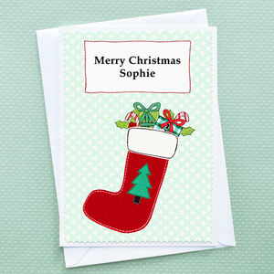 'Christmas Stocking' Personalised Christmas Card - cards & wrap