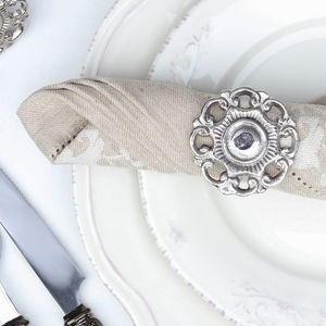 Nickel Plated English Rose Shaped Napkin Ring