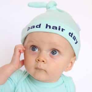 Bad Hair Day Mint Baby Hat With Blue Slogan, Unisex - winter sale