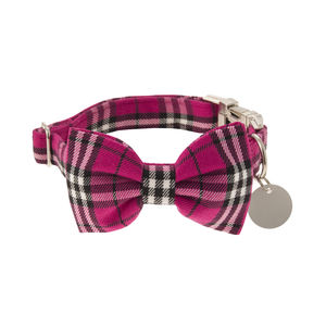 Cerise Pink Plaid Bow Tie Dog Collar - clothes & accessories