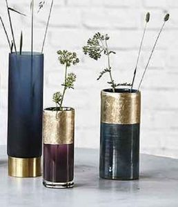 Metallic Gold And Blue Cylinder Vase - vases