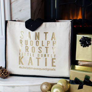 Personalised 'Christmas Squad Goals' Bag - slogan shoppers