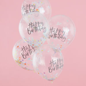 Happy Birthday Confetti Filled Balloons Five Pack