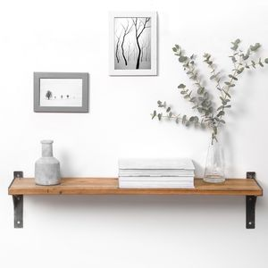 Reclaimed Wood And Steel Industrial Style Shelf - living room