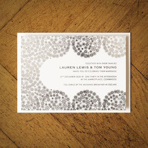 Winter Snowflakes Foiled Wedding Invitation - wedding stationery