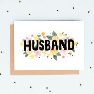 Husband Floral Card