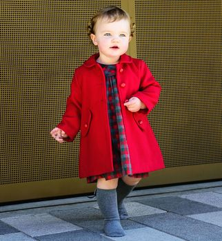 Classic Baby Coat In Red Or Charcoal