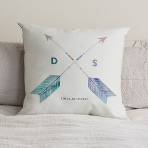 Personalised Couples Initials Arrow Cushion - for him