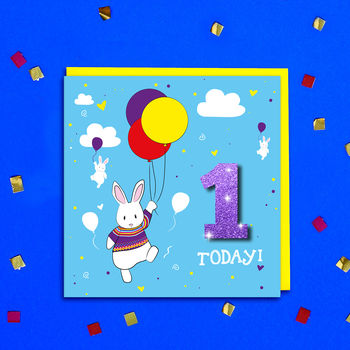 Personalised Bunny And Balloons Kids Age Birthday Card