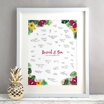 Personalised Tropical Wedding Guest Book Print
