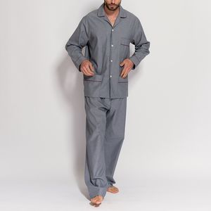 Men's Pyjamas Silver Jacquard With Wine Piping - nightwear