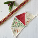 Reindeer, Holly And Red Christmas Mini Bunting