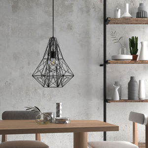 Black Birdsnest Cage Pendant Light - bedroom
