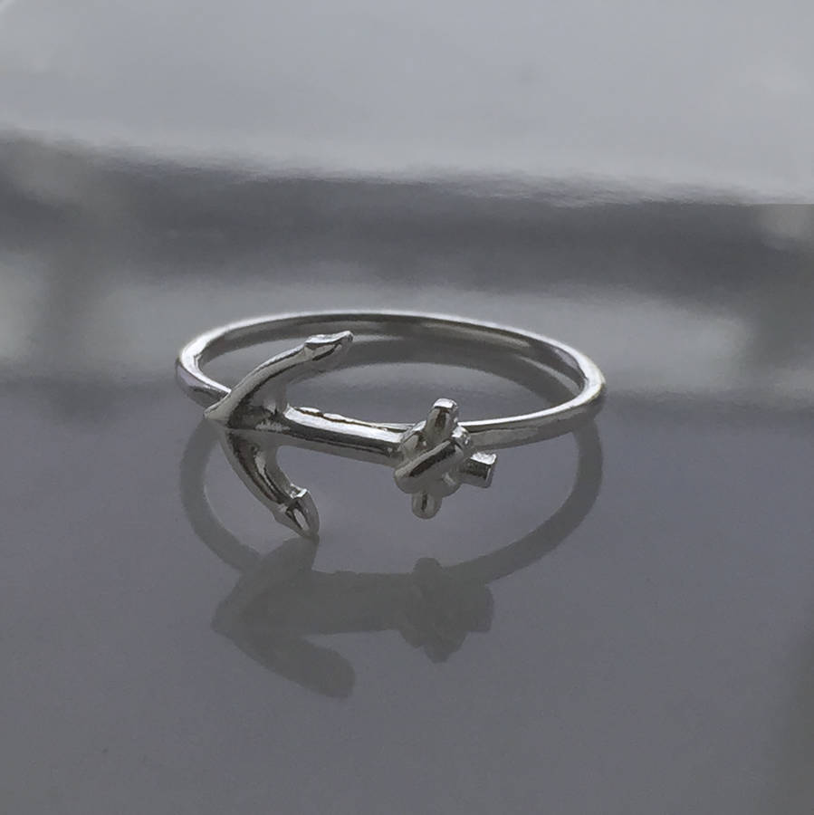 anchor ring in sterling silver by jones jewellery