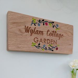 Personalised Engraved Oak Garden Sign - art & decorations
