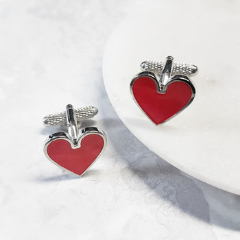Heart Cufflinks Romantic Cards Love Poker