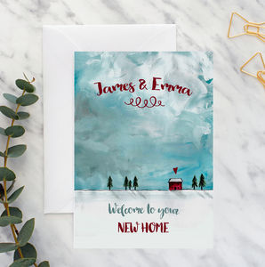 Personalised New Home Red Cottage A5 Card