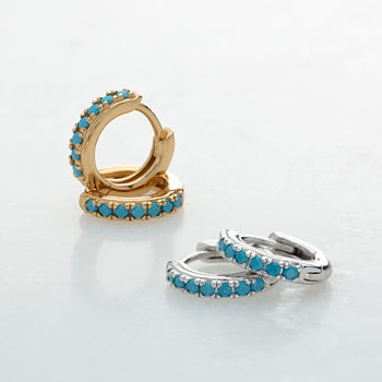 Gold and Silver Huggie Hoop Earrings with Turquoise Stones by Scream Pretty