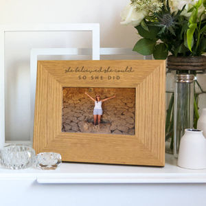 'She Believed She Could, So She Did' Photo Frame - personalised